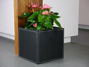 Pflanzkübel aus Kunstleder Schwarz 35x35x35cm